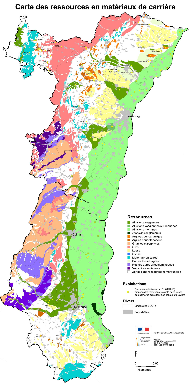 Carte Calcaire Alsace.Carte Des Ressources En Materiaux De Carriere De L Alsace