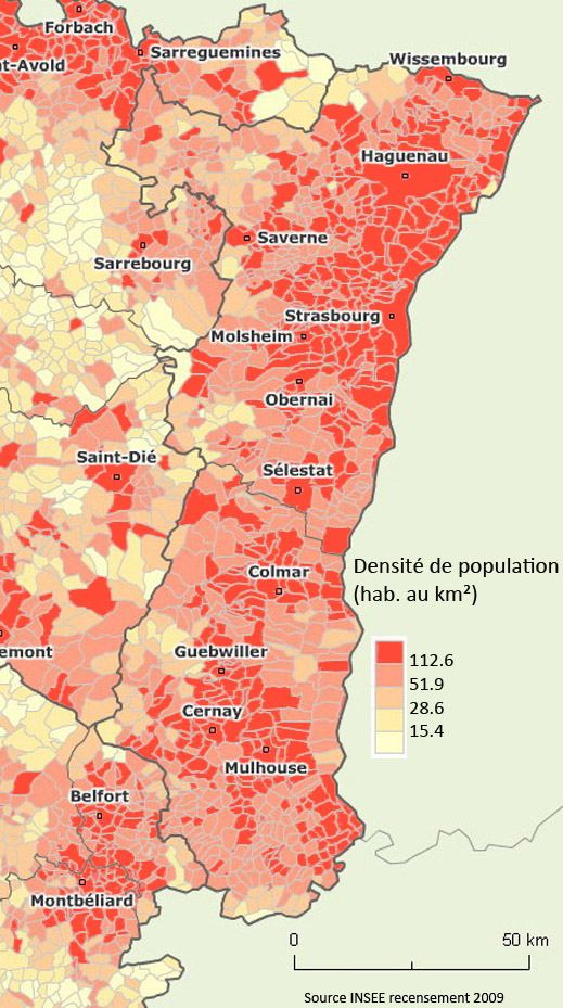 Carte Alsace Colmar Strasbourg.Carte Des Densites De Population Insee On Distingue