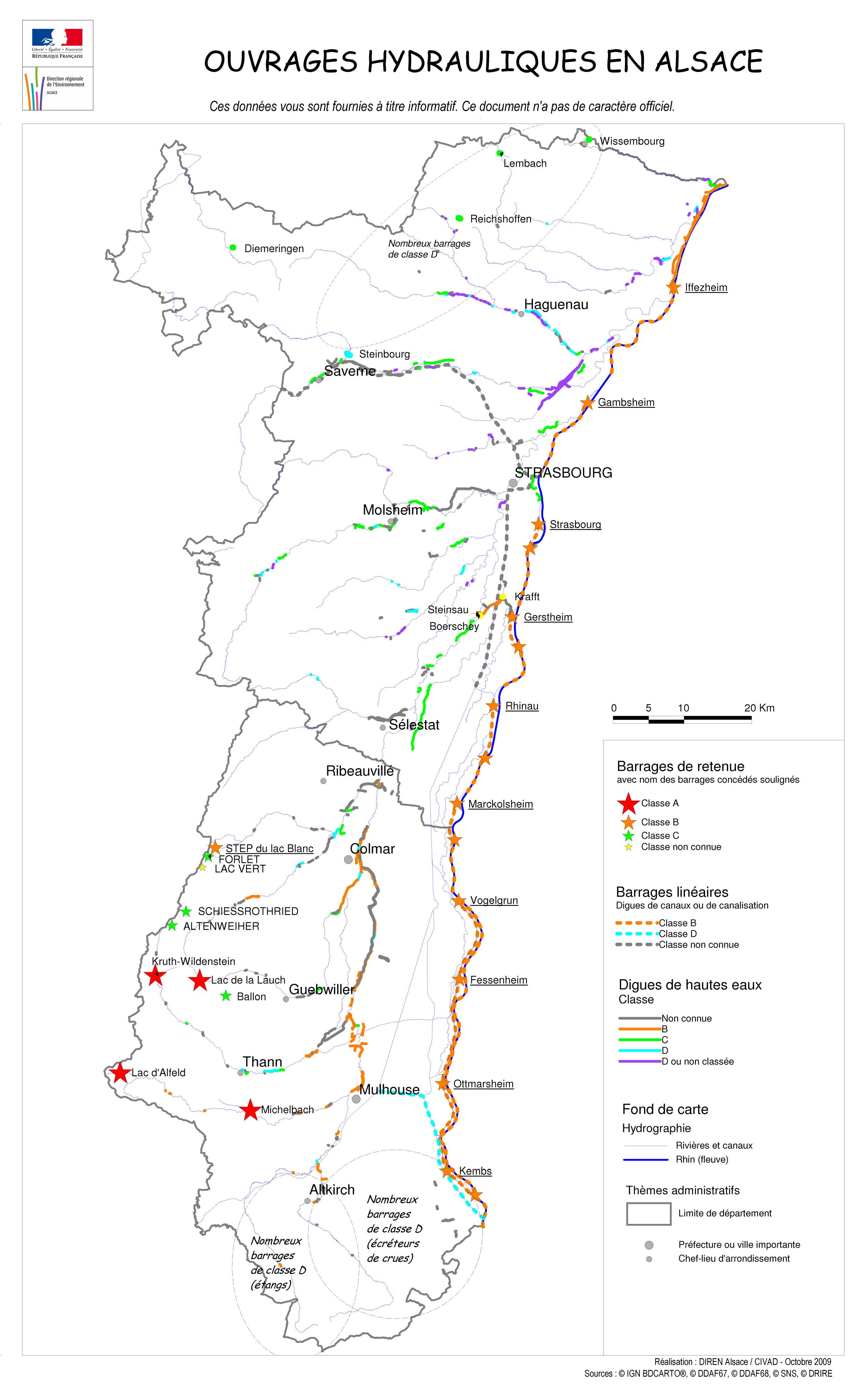Carte des ouvrages hydrauliques. Dreal Alsace 2009 - Atlas des paysages d'Alsace